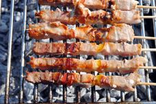 Cocked Pork Kabobs Royalty Free Stock Images
