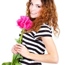 Free Beautiful Woman With Flowers And Bags Stock Photo - 23599880