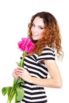 Free Beautiful Woman With Flowers And Bags Royalty Free Stock Photos - 23599888