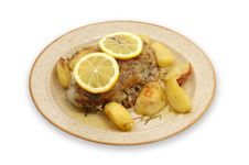 Pork Cooked With Oven Potatoes Stock Photography