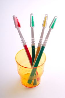 Free Four Tooth-brushes In  Glass Stock Photo - 2361530