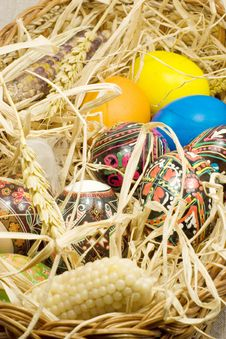 Free Easter Eggs In Straw Nest Stock Photo - 2362000