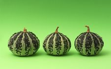 Free Three Pumpkins On Green Backgr Royalty Free Stock Image - 2363006