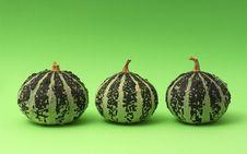 Three Pumpkins On Green Backgr Royalty Free Stock Image