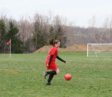 Girl At Soccer Field 14 Stock Photography