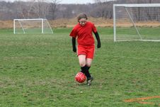 Girl At Soccer Field 20 Stock Photography