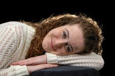 Free Teen Girl Reclining On Her Han Stock Images - 2363444