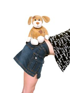Free Soft Toy Dog And Girl Royalty Free Stock Image - 2364146