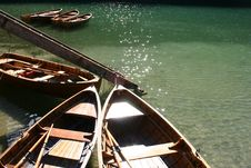 Rowing Wooden Boats On Lake Royalty Free Stock Photos