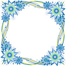 Blue And Yellow Flower Frame Stock Images