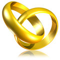 Free Connected Golden Wedding Rings-3d Stock Photography - 23601432