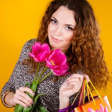 Free Woman With Red Flowers In The Studio Stock Photo - 23600020