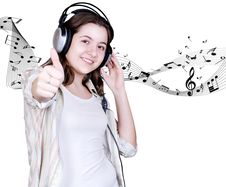 Teenage Girl In Headphones Royalty Free Stock Photos