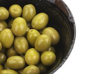 Free Pile Of  Green Olives In A Bowl Isolated Royalty Free Stock Photos - 23607768