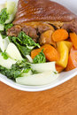 Free Stewed Ham Hock Served With Vegetables Stock Images - 23619064