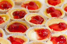 Red Cherry Pie In Small Cup Of Zigzag Edge Royalty Free Stock Images