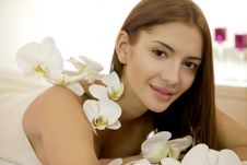 Free Beautiful Young Woman With Lily Flower Stock Photography - 23613542
