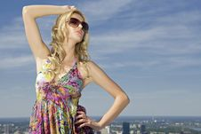 Beautiful Girl In Sunglasses On Blue Sky Stock Photos