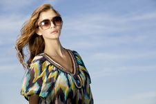 Free Beautiful Girl In Sunglasses On Blue Sky Stock Image - 23613651
