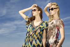 Free Two Beautiful Girl In Sunglasses On Blue Sky Royalty Free Stock Photography - 23613747