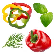 Free Fresh Herbs And Pepper Isolated On White Stock Images - 23615504