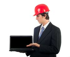 Engineer Showing Your Content On Laptop Screen Royalty Free Stock Image