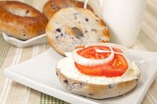 Free Bagel With Cream Cheese Royalty Free Stock Photos - 23618948