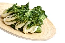 Free Baby Bok Choy On A Bamboo Tray Royalty Free Stock Image - 23619096