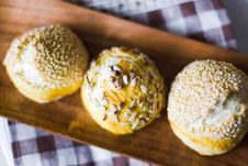 Three Buns With Seeds Royalty Free Stock Photo