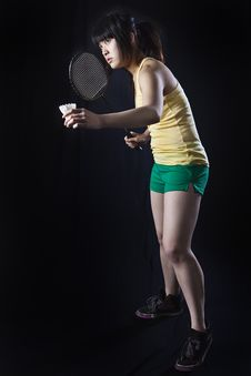 Free Asian Woman With Badminton Racket Royalty Free Stock Image - 23624376