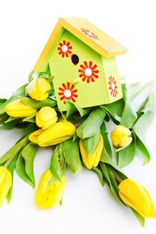 Free Bird House On Flowers Stock Photography - 23626512