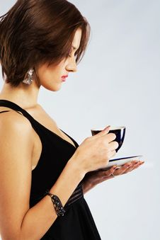 Beautiful Woman With A Cup Of Tea Stock Image