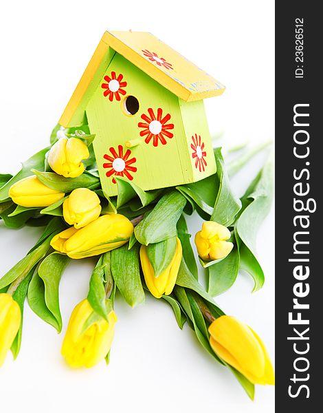 Bird house on flowers