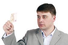 Free Man Considers Money Royalty Free Stock Photography - 23630107
