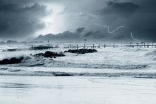 Free Lightning Over The Sea Stock Photos - 23630233