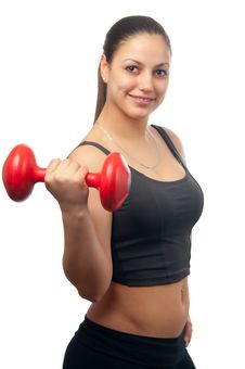 Free Young Attractive Woman Exercising With Dumbbell Stock Images - 23633244