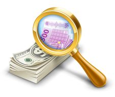 Free Dollar Pack Becomes Euro, Look Through Magnifier. Stock Photo - 23635530
