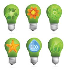 Free Abstract Creative Eco Bulb Sign Set Royalty Free Stock Image - 23637526