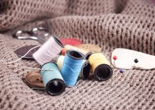 Free Bobbin Of Thread With Needle And Button Royalty Free Stock Photo - 23640895