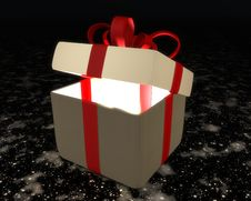 Free Semi-open Gift Box With Red Ribbon And Bow Stock Images - 23643974