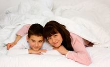 Mother And Son In Bed Royalty Free Stock Images