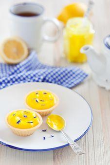 Lemon Curd Tartlets Stock Photo
