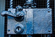 Steel Door Handle With Lock Stock Image