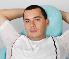 Free Man Resting After Exercises In Gym Stock Photos - 23660273