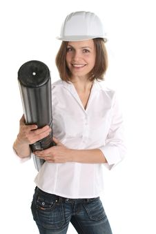 Free Woman Architect In Hardhat Royalty Free Stock Photography - 23661467