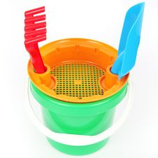 Free Bucket Toy  On White Royalty Free Stock Photography - 23661867