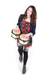 Free Girl Playing Percussion Royalty Free Stock Photography - 23662097