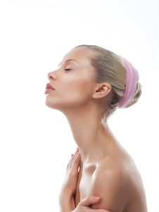 Attractive Girl Face With Long Neck. Skincare Royalty Free Stock Images
