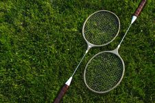 Free Raquet Set On Green Grass Royalty Free Stock Image - 23668996