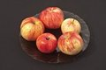 Free Apples On A Plate On A Black Background Stock Images - 23670794
